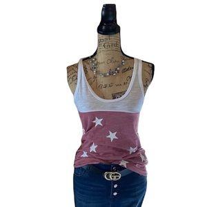 Reflex white/ pink star patterned tank top